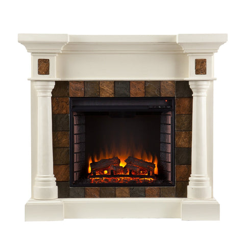 Carrington Faux Slate Convertible Electric Fireplace - Ivory