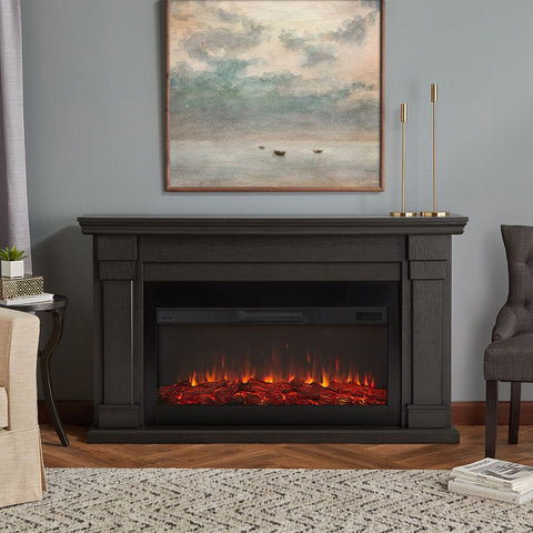Carlisle Electric Fireplace in Gray - Ventless Fireplace Pros