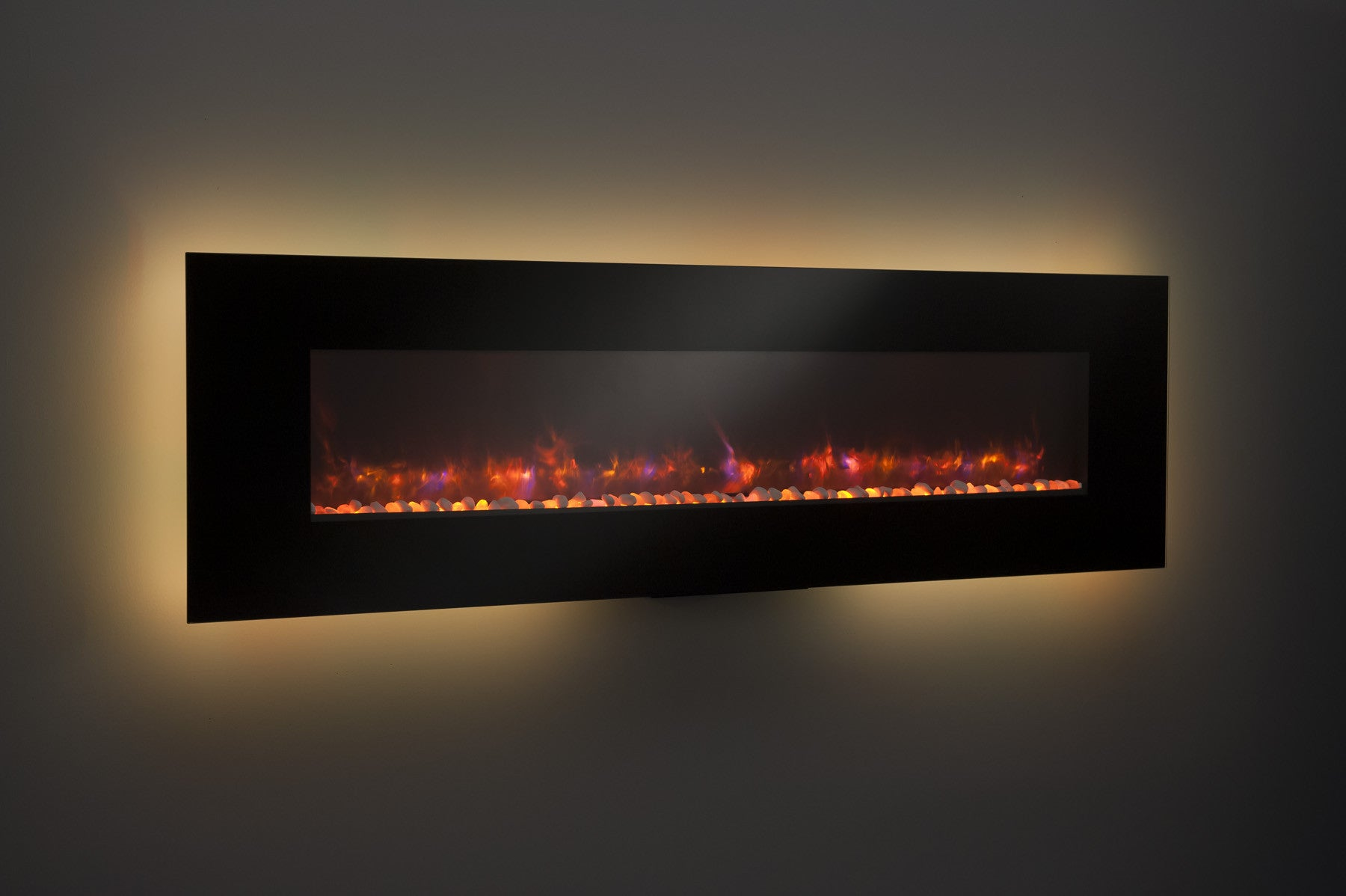electric wall fireplaces  wall mount fireplaces – ventless  -  inch black linear electric wall fireplace