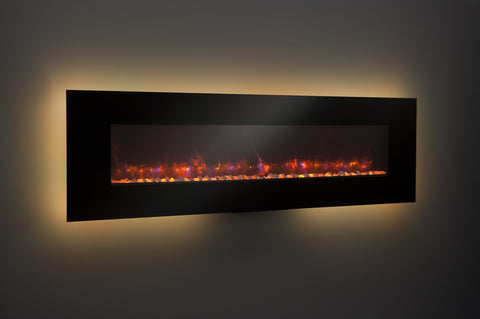 94 inch Black Linear Electric Wall Fireplace
