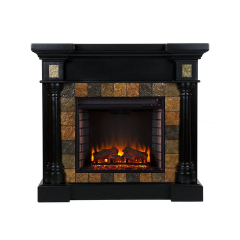 Carrington Faux Slate Convertible Electric Fireplace - Black