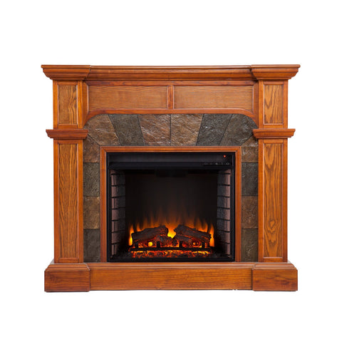 Cartwright Convertible Electric Fireplace - Mission Oak