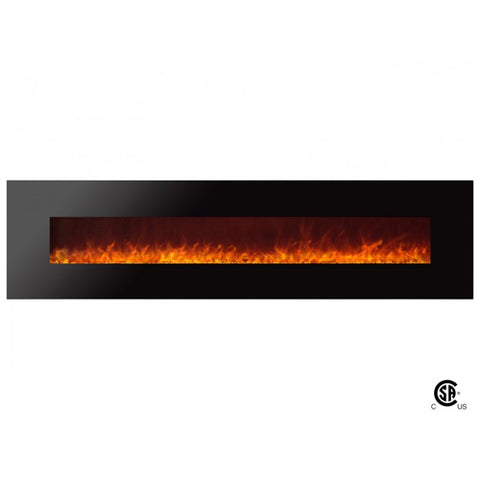 "95"" Royal Wall Mount Electric Fireplace with Crystals - Ventless Fireplace Pros"