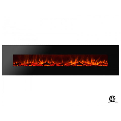 "95"" Royal Wall Mount Electric Fireplace with Logs - Ventless Fireplace Pros"