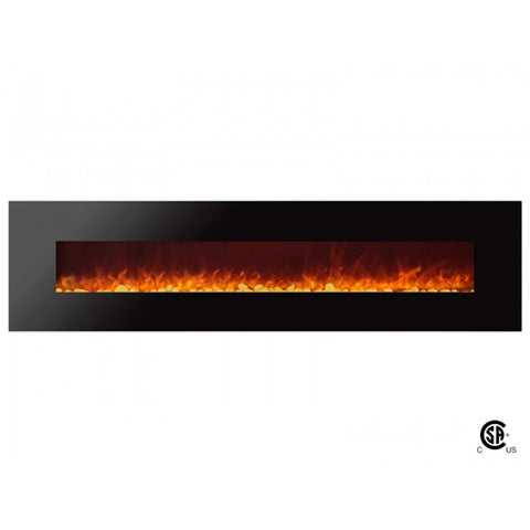 "95"" Royal Wall Mount Electric Fireplace with Pebbles - Ventless Fireplace Pros"