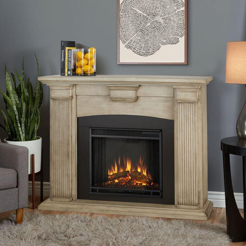 Adelaide Electric Fireplace in Whitewash - Ventless Fireplace Pros