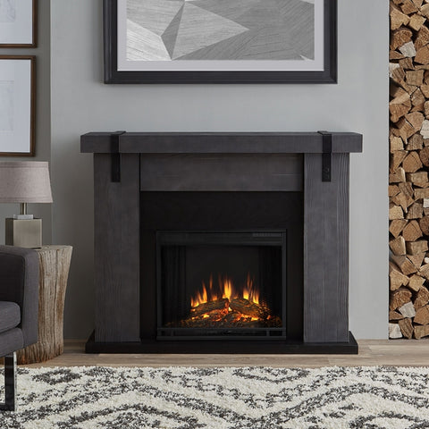 Aspen Electric Fireplace in Gray Barnwood - Venteless Fireplace Pros