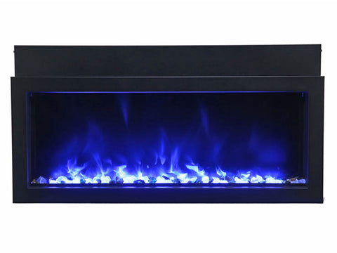 "Amantii 30"" Extra Slim Indoor or Outdoor Built-in Electric Fireplace with Black Steel Surround - Ventless Fireplace Pros"