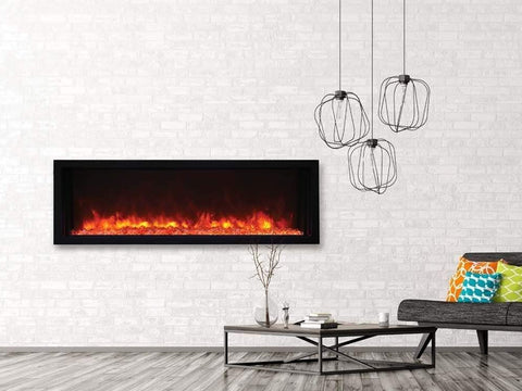 "Amantii 50"" Extra Slim Indoor or Outdoor Built-in Electric Fireplace with Black Steel Surround - Ventless Fireplace Pros"