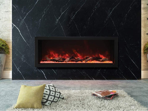 "Amantii 60"" Deep XT Indoor or Outdoor Built-in Electric Fireplace with Black Steel Surround - Ventless Fireplace Pros"