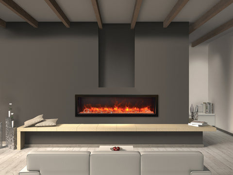 "Amantii 60"" Deep Indoor or Outdoor Built-in Electric Fireplace with Black Steel Surround - Ventless Fireplace Pros"