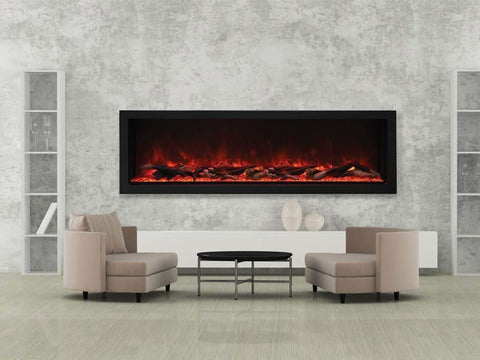 "Amantii 72"" Deep XT Indoor or Outdoor Built-in Electric Fireplace with Black Steel Surround - Ventless Fireplace Pros"