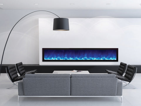 "Amantii 88"" Slim Indoor or Outdoor Built-in Electric Fireplace with Black Steel Surround - Ventless Fireplace Pros"