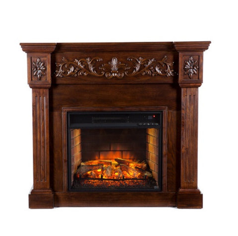 Calvert Carved Infrared Electric Fireplace - Espresso