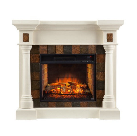 Carrington Faux Slate Convertible Infrared Fireplace - Ivory
