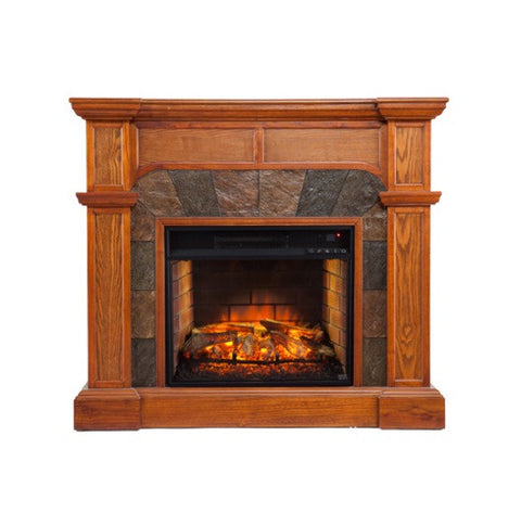 Cartwright Corner Faux Stone Infrared Fireplace - Oak