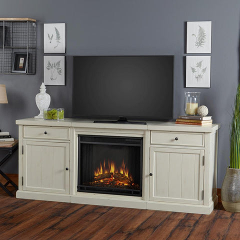 Cassidy Entertainment Center With Electric Fireplace in Distressed White - Ventless Fireplace Pros