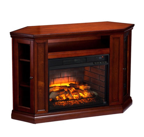Claremont Corner Media Infrared Fireplace - Brown Mahogany
