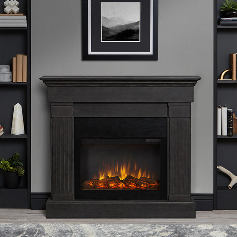 Crawford Slim Series Electric Fireplace in Gray Finish - Ventless Fireplace Pros