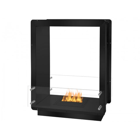 "Ignis 28"" Wide Double-Sided Ethanol Burning Firebox in Black - Ventless Fireplace Pros"