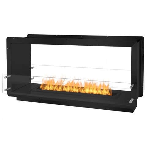 "Ignis 52"" Wide Double-Sided Ethanol Burning Firebox in Black - Ventless Fireplace Pros"