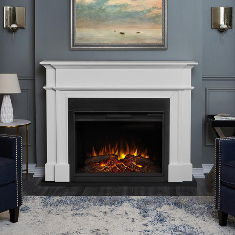 Harlan Grand Electric Fireplace in White - Ventless Fireplace Pros