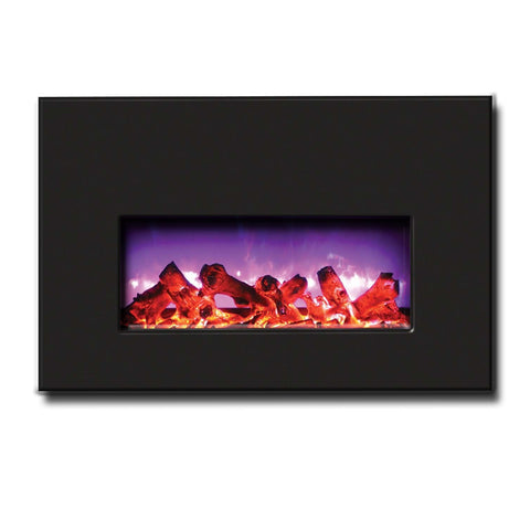 "Amantii 26"" Electric Fireplace Insert with Black Glass Surround - Ventless Fireplace Pros"