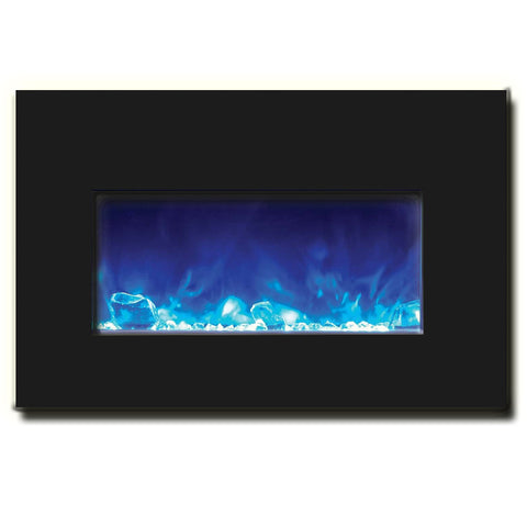 "Amantii 30"" Electric Fireplace Insert with Black Glass Surround - Ventless Fireplace Pros"