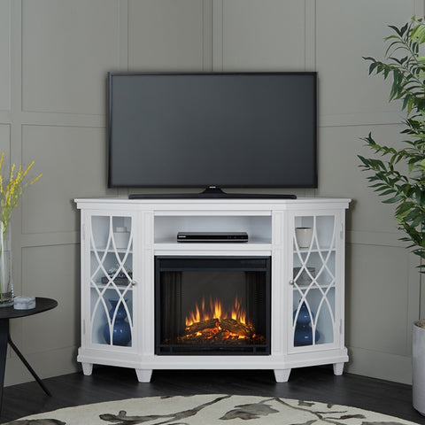 Lynette Corner Electric Fireplace in White - Ventless Fireplace Pros