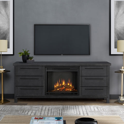 Parsons Electric Fireplace in Antique Gray Finish - Ventless Fireplace Pros