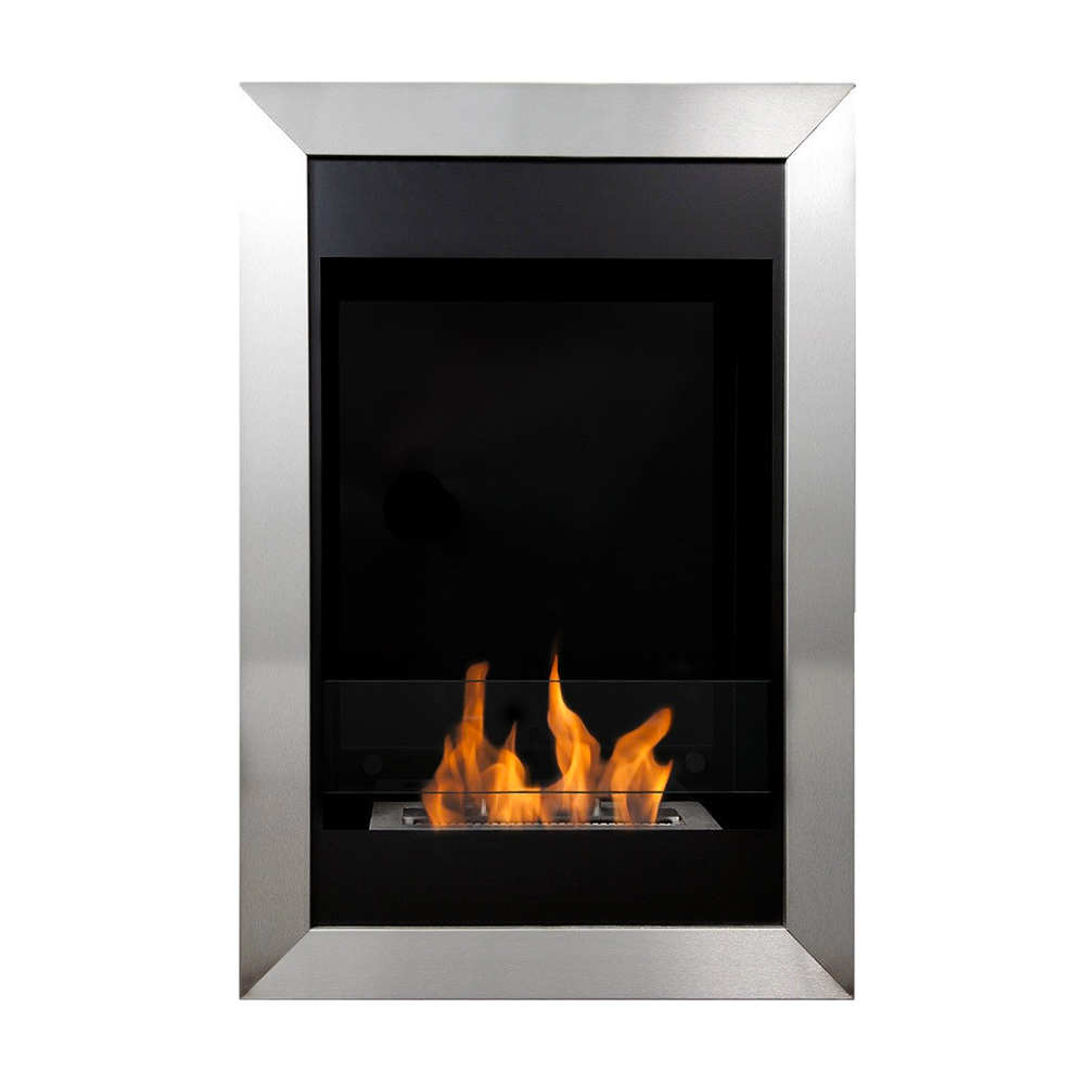 bio blaze square flame vertical wall mount fireplace u2013 ventless