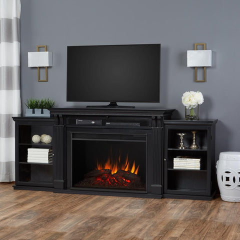 Tracey Grand Entertainment Center With Electric Fireplace in Black - Ventless Fireplace Pros