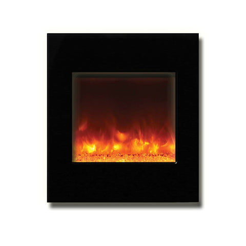 "Amantii 24"" x 28"" Zero Clearance Electric Fireplace with Black Glass Surround - Ventless Fireplace Pros"