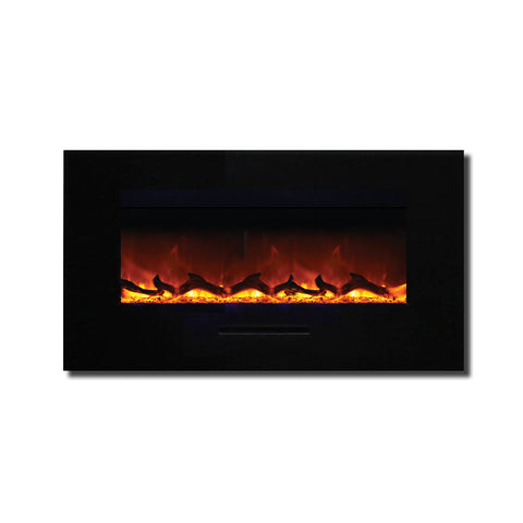 Amantii 34″ Wall Mount / Flush Mount Electric Fireplace with Black Glass Surround - Ventless Fireplace Pros