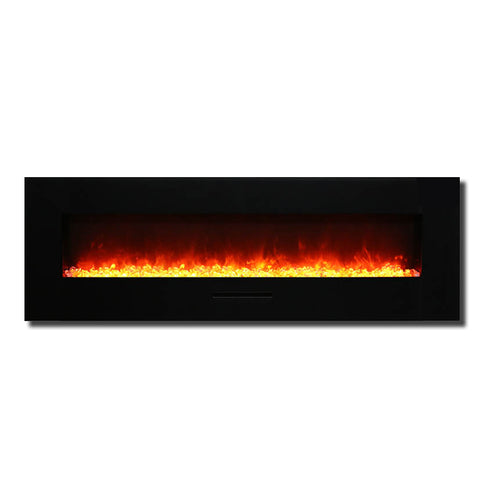 "Amantii 60"" Wall Mount / Flush Mount Electric Fireplace with Black Glass Surround - Ventless Fireplace Pros"
