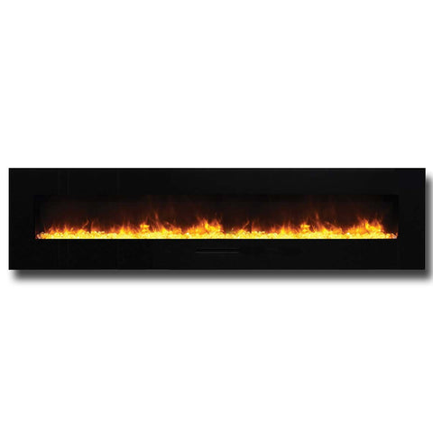 "Amantii 88"" Wall Mount / Flush Mount Electric Fireplace with Black Glass Surround - Ventless Fireplace Pros"