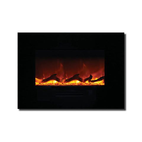 Amantii 26″ Wall Mount / Flush Mount Electric Fireplace with Black Glass Surround - Ventless Fireplace Pros