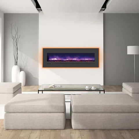 "Sierra Flame 60"" Linear Electric Fireplace with Steel Front - Ventless Fireplace Pros"