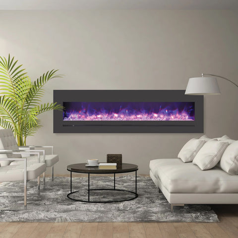 "Sierra Flame 72"" Linear Electric Fireplace with Steel Front - Ventless Fireplace Pros"