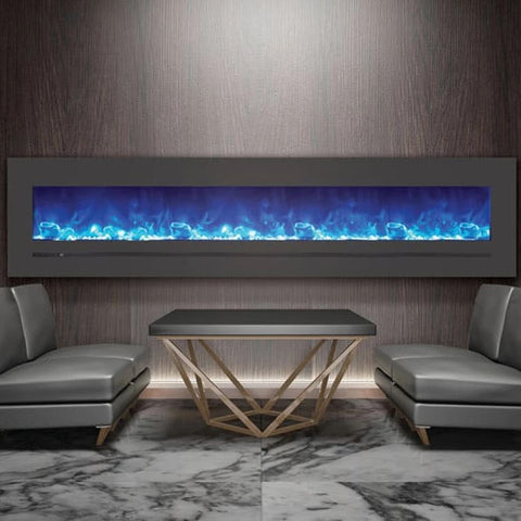 "Sierra Flame 88"" Linear Electric Fireplace with Steel Front - Ventless Fireplace Pros"