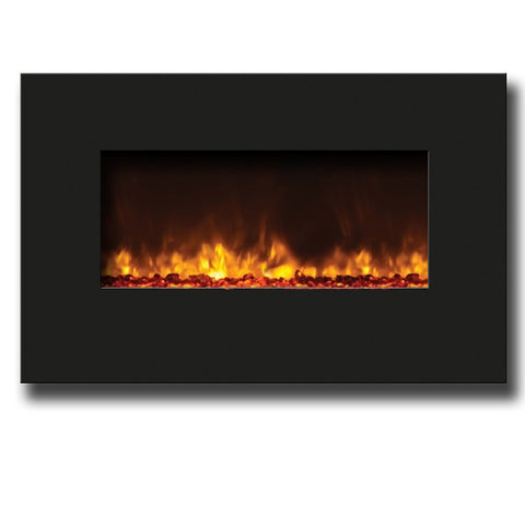 "Amantii Wall Mount or Built In Electric Fireplace 26"" Black Glass Surround - Electric Fireplaces - Ventless Fireplace Pros"