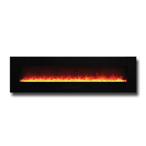 "Amantii 72"" Wall Mount / Flush Mount Electric Fireplace with Black Glass Surround - Ventless Fireplace Pros"