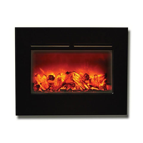 "Amantii 26"" Flushmount Zero Clearance Electric Fireplace with Black Glass Surround - Electric Fireplaces - Ventless Fireplace Pros"