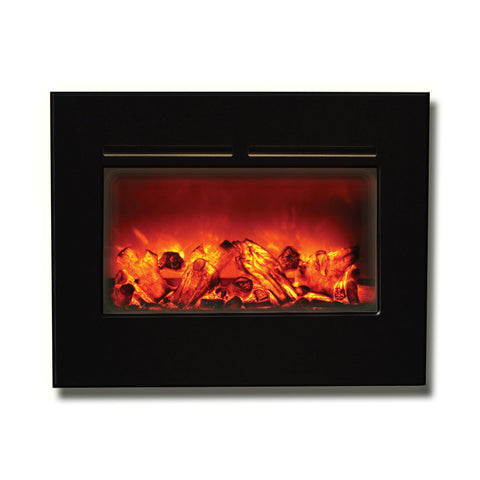"Amantii 26"" Zero Clearance Flush Mount Electric Fireplace with Black Glass Surround - Ventless Fireplace Pros"