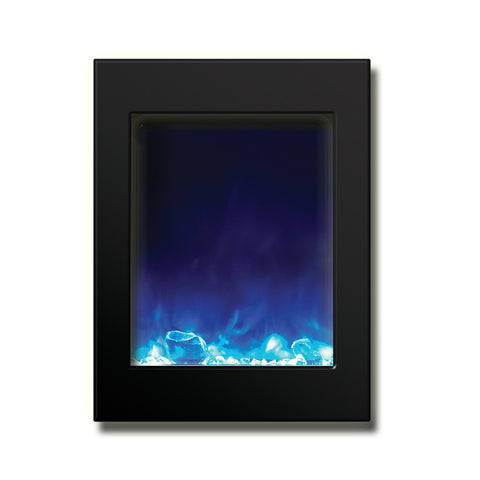 Amantii 29″ x 39″ Zero Clearance Electric Fireplace with Black Glass Surround - Ventless Fireplace Pros