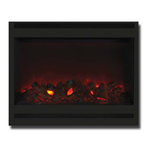 "Amantii 31"" Zero Clearance Electric Fireplace with Square Steel Surround - Ventless Fireplace Pros"