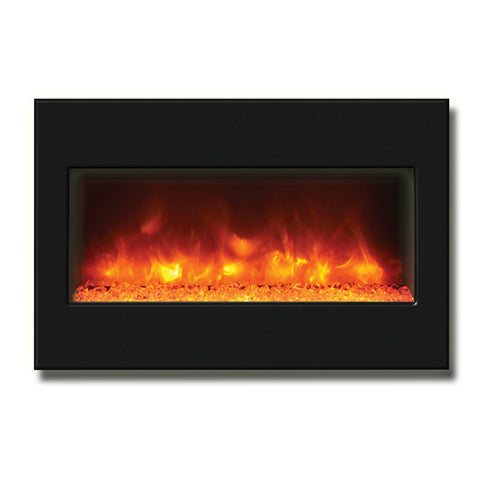 "Amantii 33"" Zero Clearance Electric Fireplace with Black Glass Surround - Ventless Fireplace Pros"