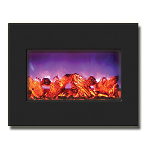 "Amantii 26"" Zero Clearance Electric Fireplace with Black Glass Surround - Ventless Fireplace Pros"