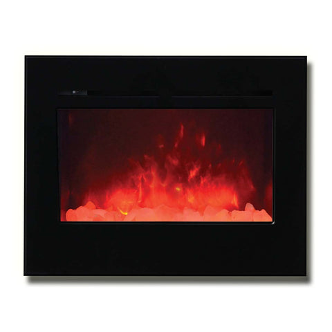 "Amantii 30"" Zero Clearance Flush Mount Electric Fireplace with Black Glass Surround - Ventless Fireplace Pros"