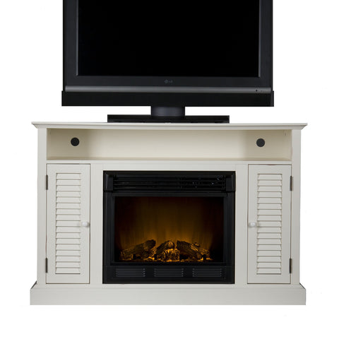 Antebellum Antique White Media Console with Electric Fireplace